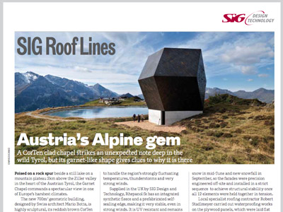 SIG Roof Lines: The RIBA Journal January 2015