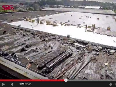 Re Roofing in Action – Replacing a Supermarket Flat Roof in 3 minutes [Video]