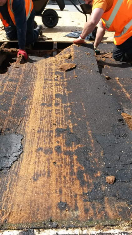 Failed timber deck caused by interstitial condensation