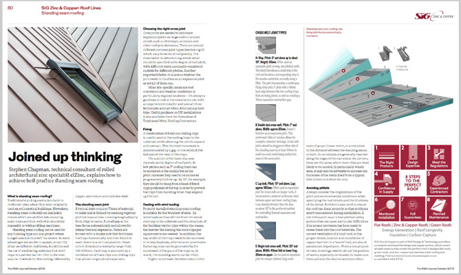 RIBA SIG Rooflines October 2016 Pages 2-3 Standing Seam Roofing