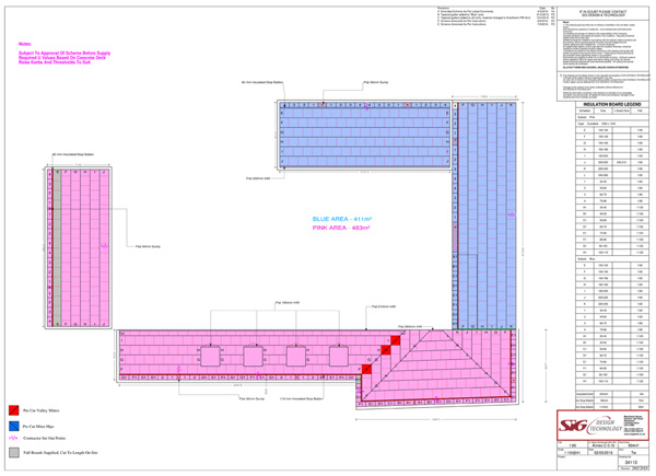 Flat Roof Drainage: An example tapered insulation scheme