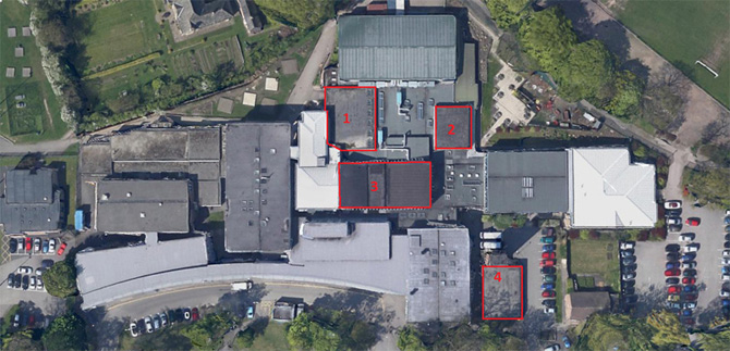 school roof refurbishment - aerial view