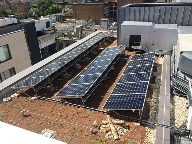 Blue Roof Best Practice - Biodiverse blue roof with photovoltaic panels