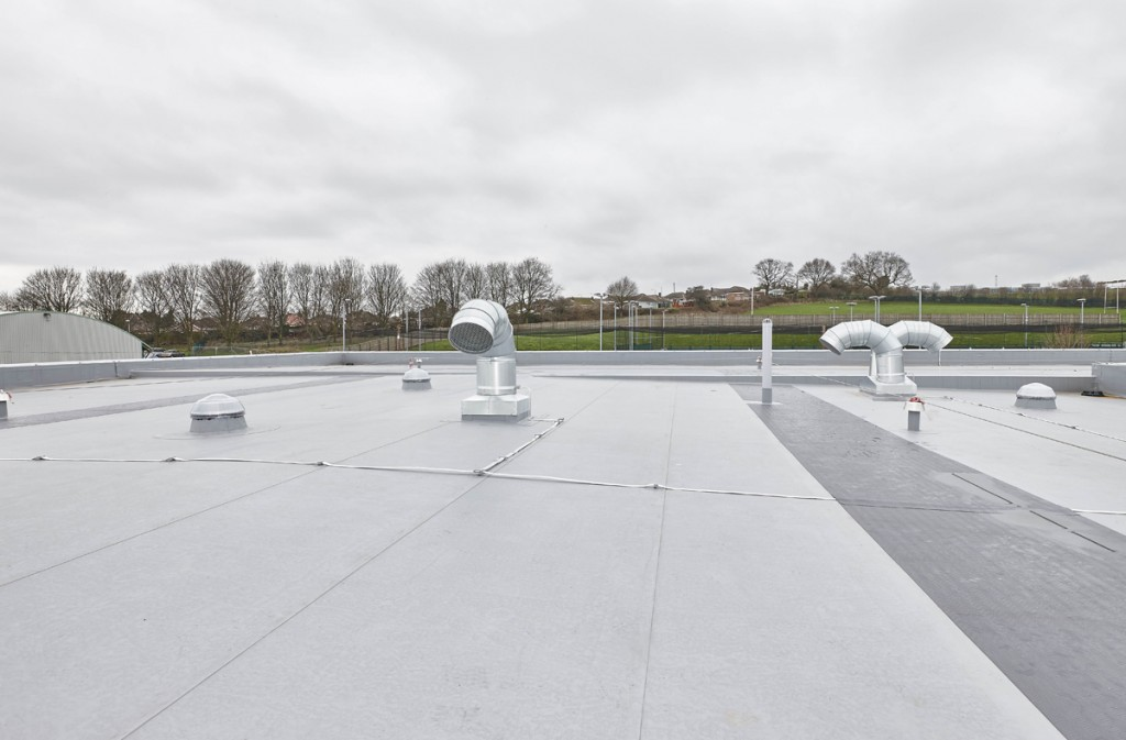 penetrations in Armourplan single ply membrane at Arnold Hill Academy