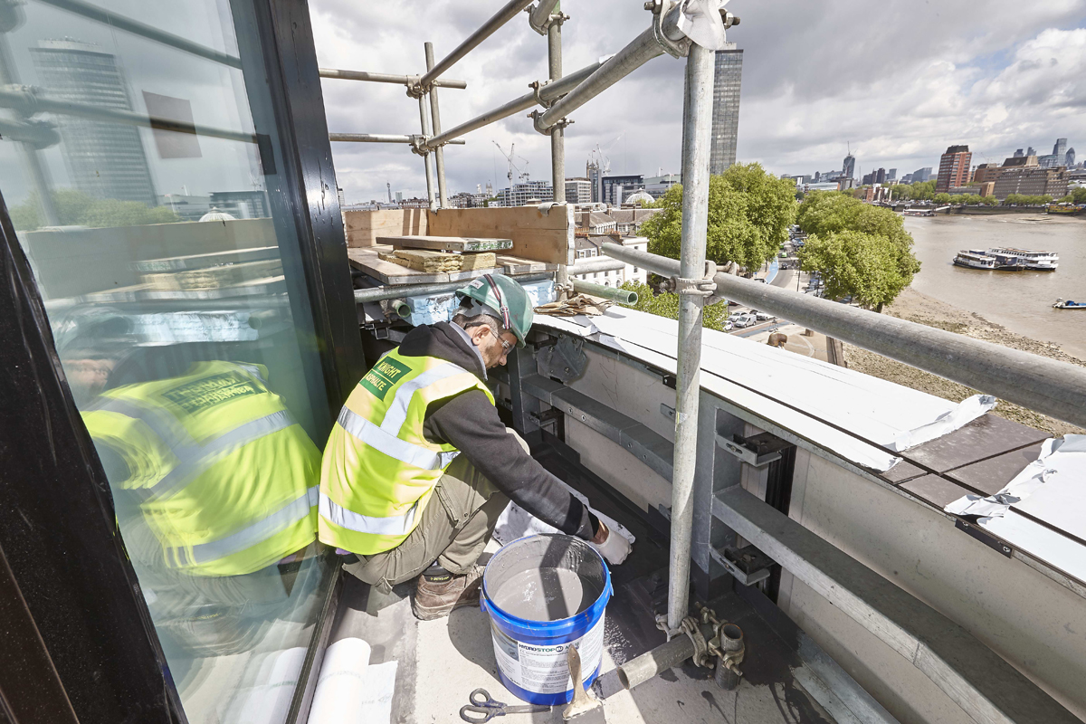 AH-25 liquid waterproofing installation at Riverwalk, London