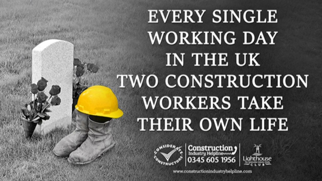 Building Mental Health slide - Every single working day in the UK two construction workers take their own life.