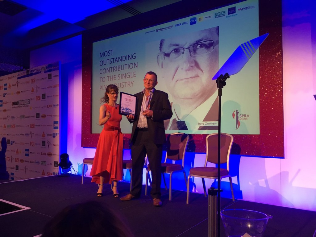 Steve surprised with his award. Image: Thornton Construction Consultants Ltd