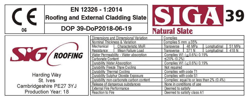 SIGA Crate Label Natural Slate Roofing